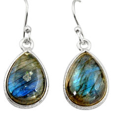 925 sterling silver 9.13cts natural blue labradorite dangle earrings r21564