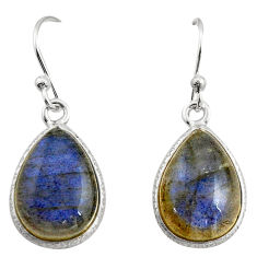 925 sterling silver 9.10cts natural blue labradorite dangle earrings r21575