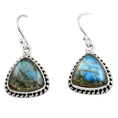 925 sterling silver 9.47cts natural blue labradorite dangle earrings r21604