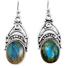 925 sterling silver 8.45cts natural blue labradorite dangle earrings r21684