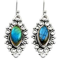 925 sterling silver 9.61cts natural blue labradorite dangle earrings r21724