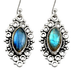 925 sterling silver 9.61cts natural blue labradorite dangle earrings r21728