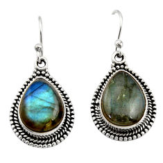 925 sterling silver 11.02cts natural blue labradorite dangle earrings r21987
