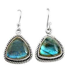 925 sterling silver 10.73cts natural blue labradorite dangle earrings r22891