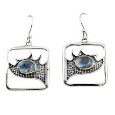 925 sterling silver 3.02cts natural blue labradorite dangle earrings r27012