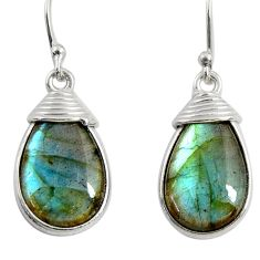 925 sterling silver 12.54cts natural blue labradorite dangle earrings r29184