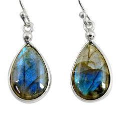 925 sterling silver 11.28cts natural blue labradorite dangle earrings r29187