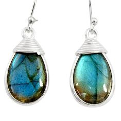 925 sterling silver 11.98cts natural blue labradorite dangle earrings r29194