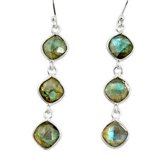 925 sterling silver 11.28cts natural blue labradorite dangle earrings r33535