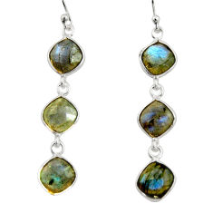 925 sterling silver 11.66cts natural blue labradorite dangle earrings r33538
