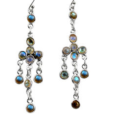 925 sterling silver 12.58cts natural blue labradorite dangle earrings r35712