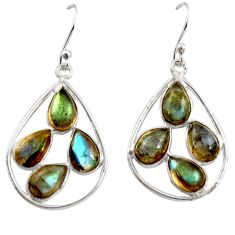 925 sterling silver 12.52cts natural blue labradorite dangle earrings r37380