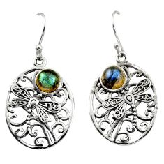 925 sterling silver 2.36cts natural blue labradorite dangle earrings r38074