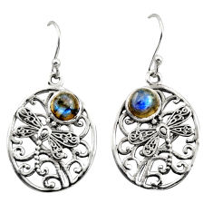 925 sterling silver 2.25cts natural blue labradorite dangle earrings r38077