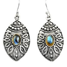 925 sterling silver 3.14cts natural blue labradorite dangle earrings r38080