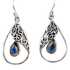 925 sterling silver 4.43cts natural blue labradorite dangle earrings r38115