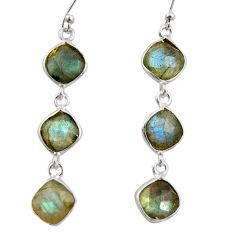 925 sterling silver 11.93cts natural blue labradorite dangle earrings r38676