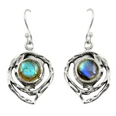925 sterling silver 5.97cts natural blue labradorite dangle earrings r39173