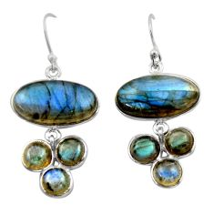 925 sterling silver 19.79cts natural blue labradorite dangle earrings r40414