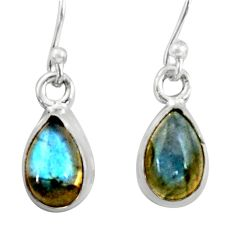 925 sterling silver 4.00cts natural blue labradorite dangle earrings r41107