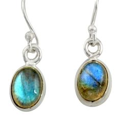 925 sterling silver 3.96cts natural blue labradorite dangle earrings r41114