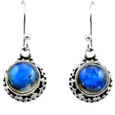 925 sterling silver 6.04cts natural blue labradorite dangle earrings r53047