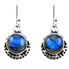 925 sterling silver 6.02cts natural blue labradorite dangle earrings r53051