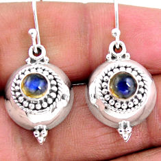 925 sterling silver 1.30cts natural blue labradorite dangle earrings r54119