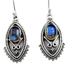 925 sterling silver 4.52cts natural blue labradorite dangle earrings r54172