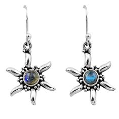 925 sterling silver 0.91cts natural blue labradorite dangle earrings r54239