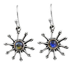 925 sterling silver 1.16cts natural blue labradorite dangle earrings r54257