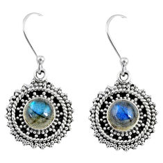 925 sterling silver 2.84cts natural blue labradorite dangle earrings r55195
