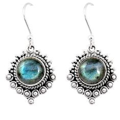 925 sterling silver 4.92cts natural blue labradorite dangle earrings r55274