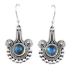 925 sterling silver 3.28cts natural blue labradorite dangle earrings r55295