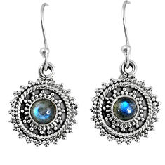 925 sterling silver 1.81cts natural blue labradorite dangle earrings r59520