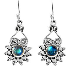 925 sterling silver 1.62cts natural blue labradorite dangle earrings r59638