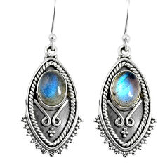 925 sterling silver 4.53cts natural blue labradorite dangle earrings r59840