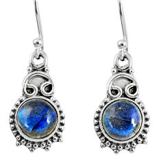 925 sterling silver 5.24cts natural blue labradorite dangle earrings r60440