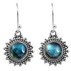 925 sterling silver 6.57cts natural blue labradorite dangle earrings r60598