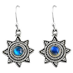 925 sterling silver 2.45cts natural blue labradorite dangle earrings r65114