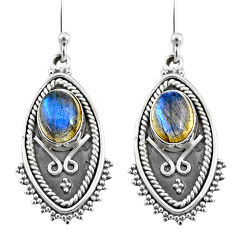 925 sterling silver 4.81cts natural blue labradorite dangle earrings r65132