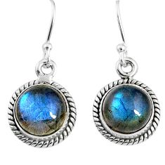 925 sterling silver 7.97cts natural blue labradorite dangle earrings r66428