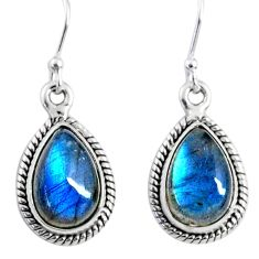 925 sterling silver 9.75cts natural blue labradorite dangle earrings r66444