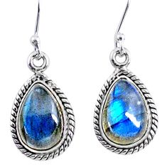 925 sterling silver 8.93cts natural blue labradorite dangle earrings r66448