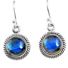 925 sterling silver 7.42cts natural blue labradorite dangle earrings r66455