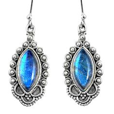 925 sterling silver 10.37cts natural blue labradorite dangle earrings r67140