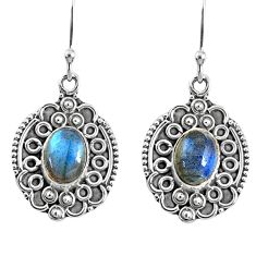 925 sterling silver 4.53cts natural blue labradorite dangle earrings r67220