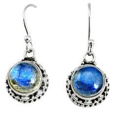 925 sterling silver 6.27cts natural blue labradorite dangle earrings r74967