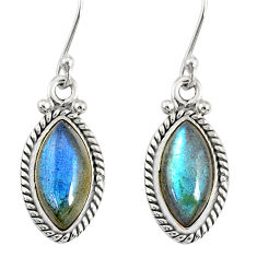 925 sterling silver 9.83cts natural blue labradorite dangle earrings r77284