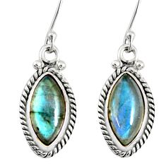 925 sterling silver 9.83cts natural blue labradorite dangle earrings r77292